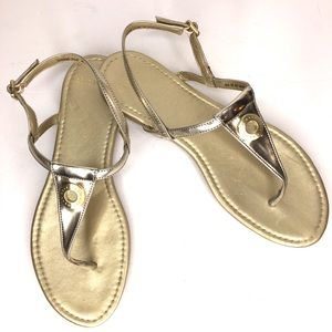 COLE HAAN Gold Thong Slingback Flat Sandals 7.5